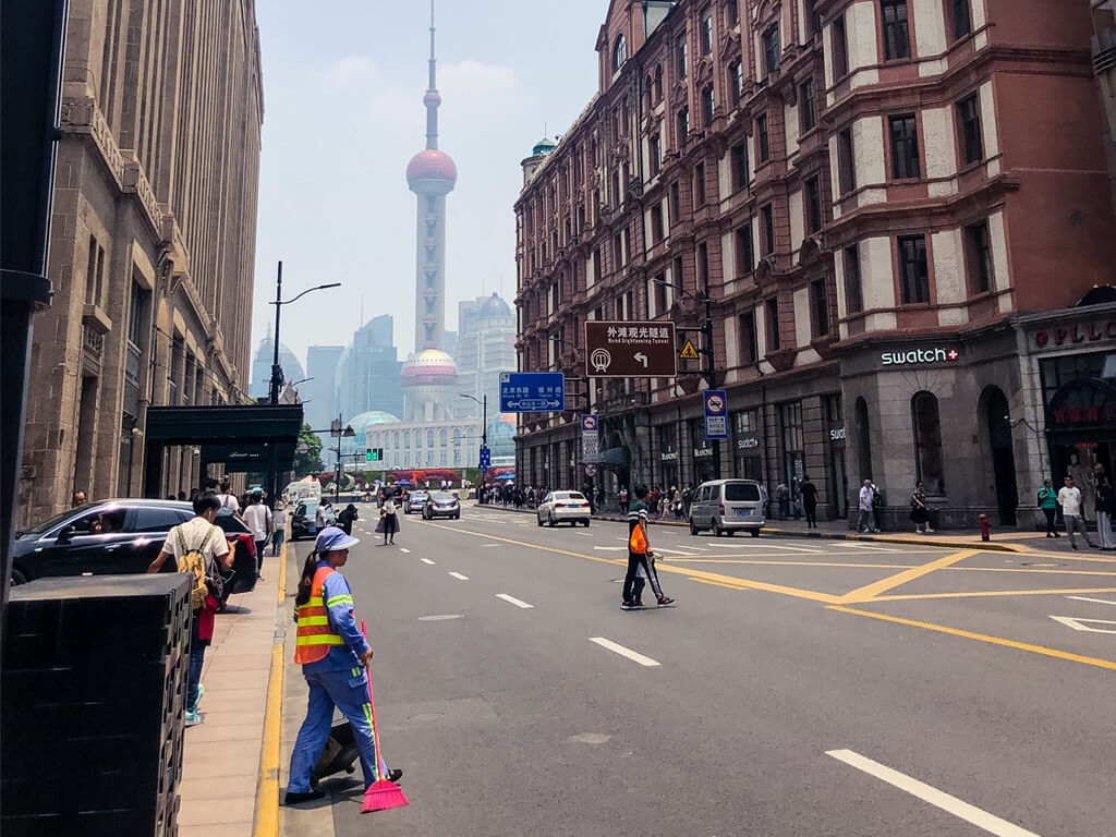 Beginning of Nanjing Road with the view of Lujiazui TV Tower, Shanghai