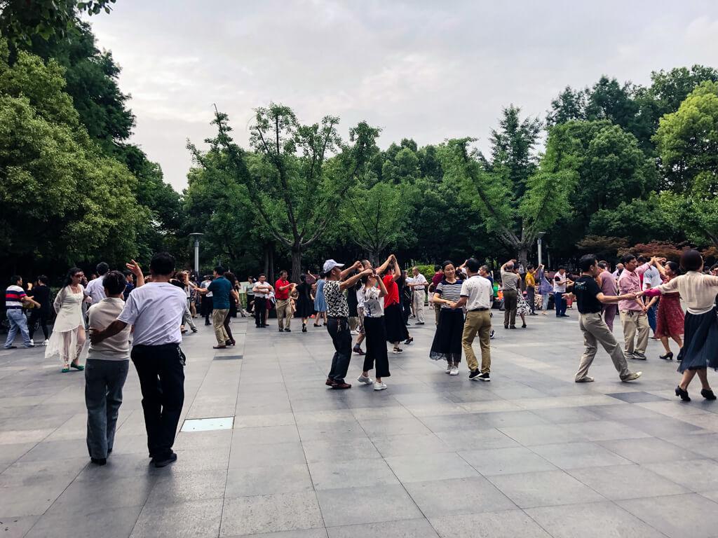 Shanghai park on a weekend