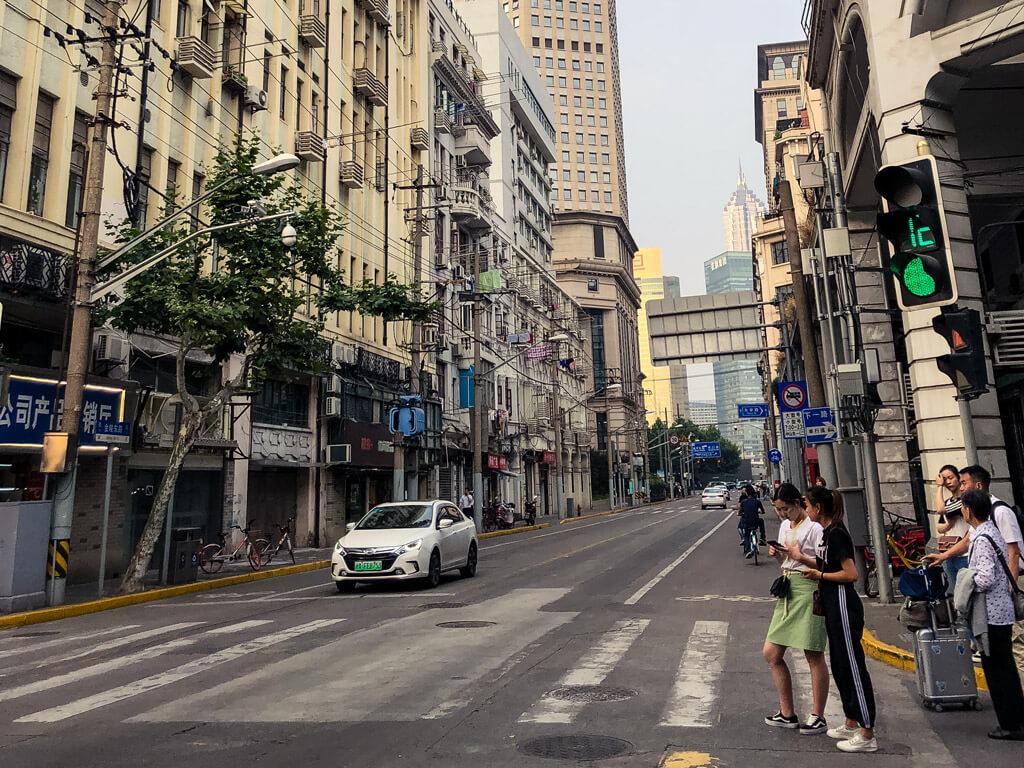 Green light on a traffic light in Shanghai China
