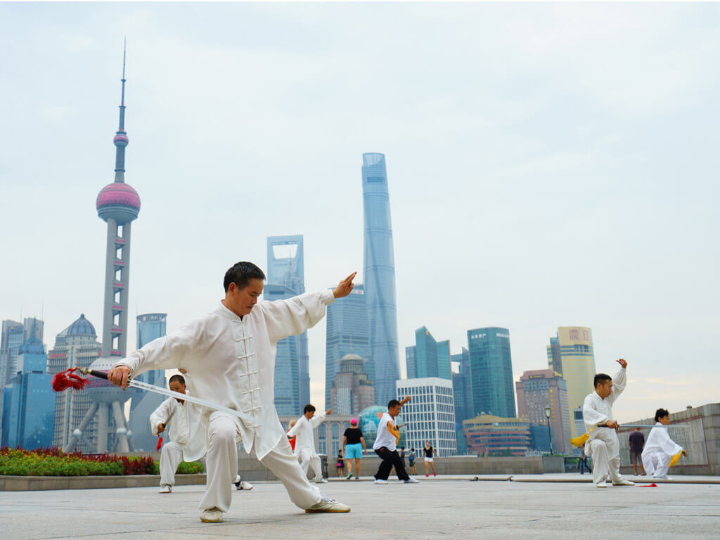 Tai chi session on the Bund in Shanghai