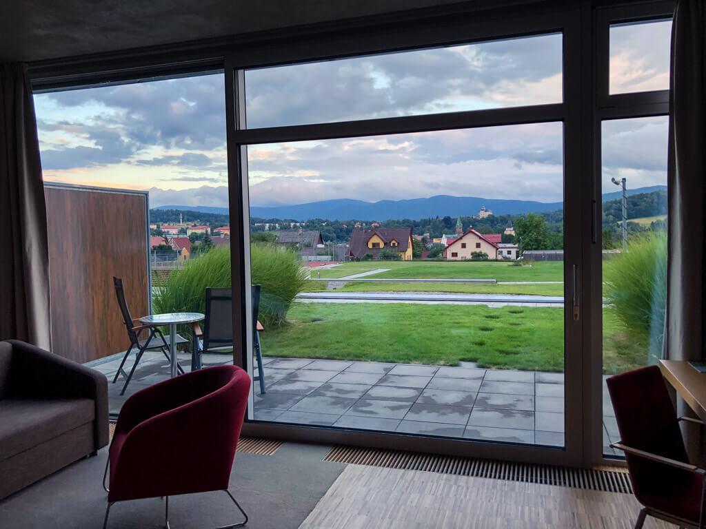 Výhled z pokoje hotelu Antonie