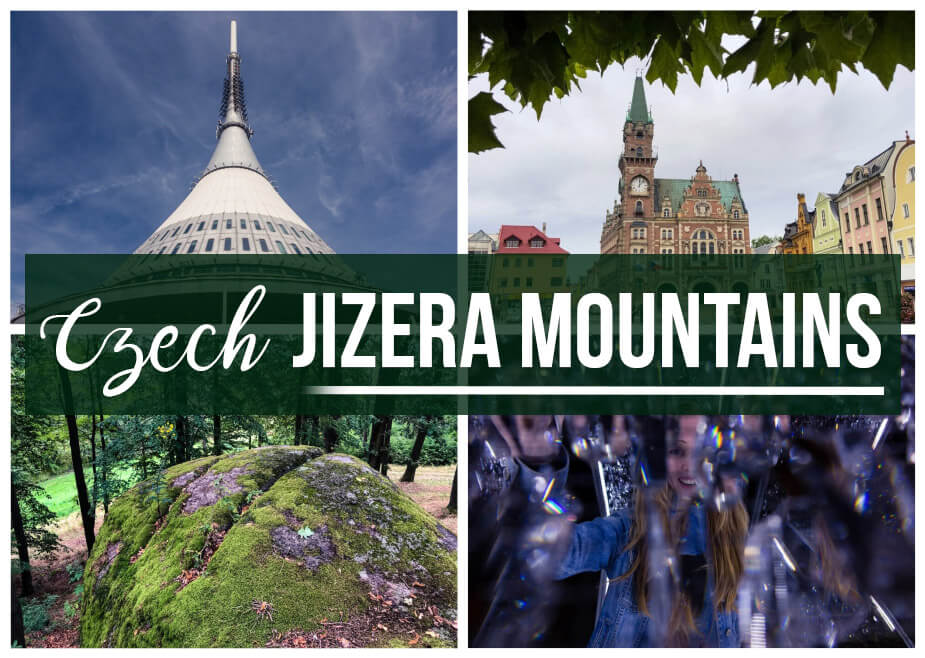 "4 photos of Czech Republic's Jizera Mountains with text overlay ""Czech Jizera Mountains"""