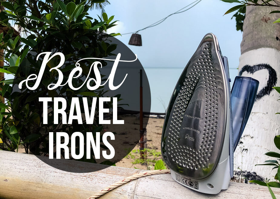 Iron in a tropical setting with a text overlay - Best Travel Irons