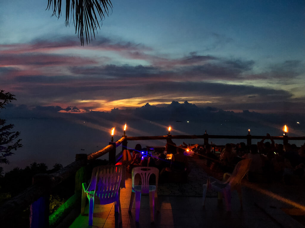 A viewpoint bar in Koh Phangan after dusk