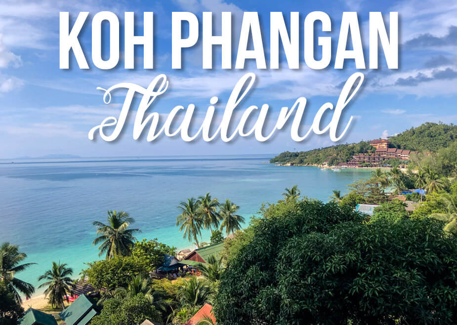 View of Koh Phangan seashore with text Koh Phangan Thailand