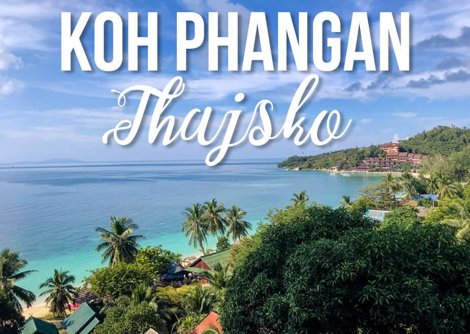 "Pohled na moře a zeleň s textem ""Koh Phangan Thajsko"""