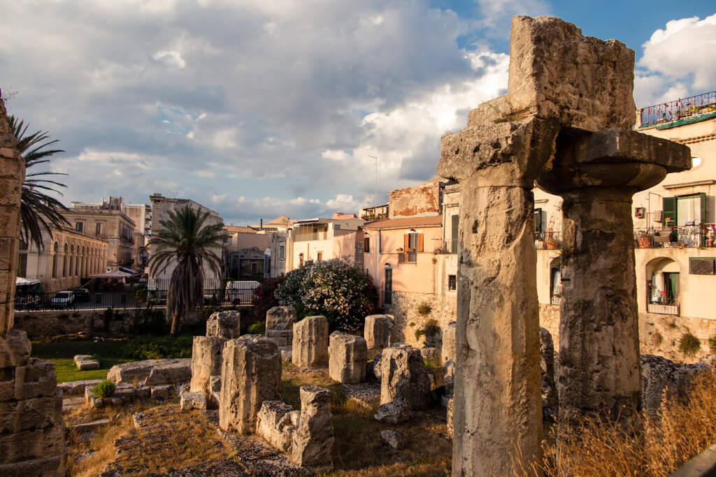 Remnants of Apollo Temple in Syracuse Sicily