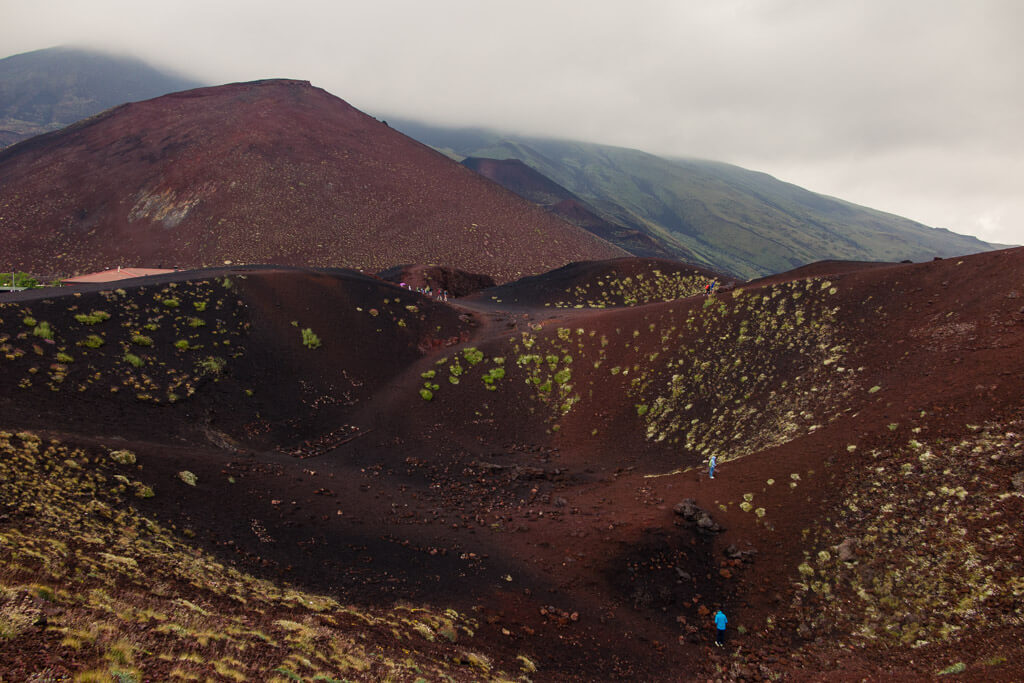 Climbing into Etna's lower craters