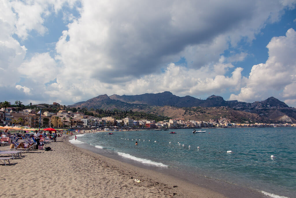 Seaside town of Giardini Naxos in Sicily
