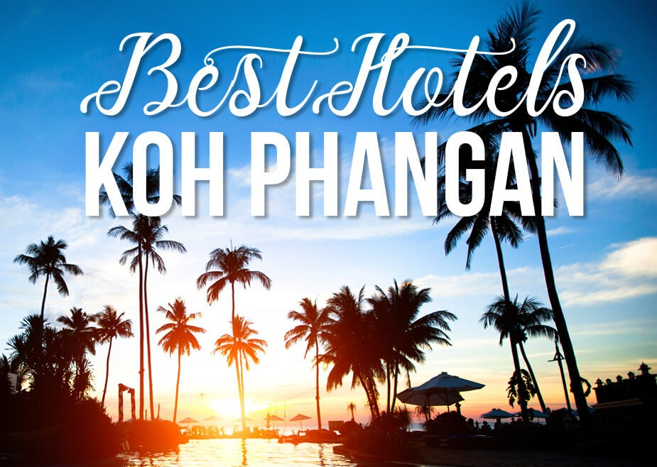 "Palm trees by a pool with text ""Best Hotels Koh Phangan"""
