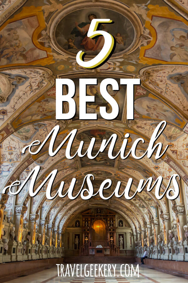 "Interior of Munich Residence Castle Museum with a text overlay saying ""5 Best Munich Museums"""