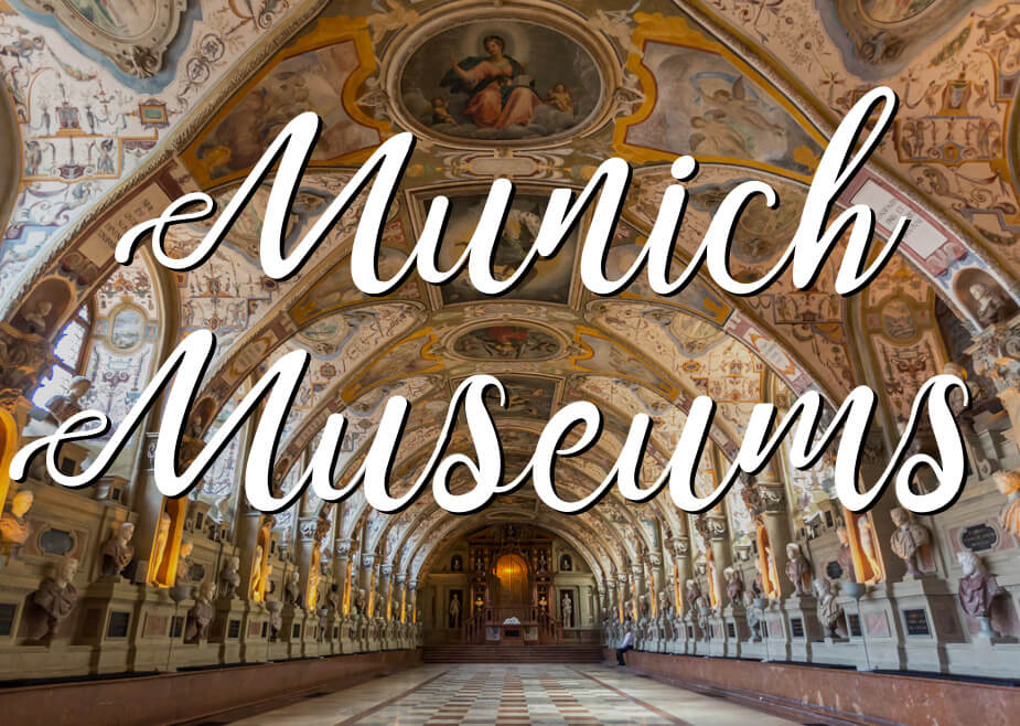 "Interior of Munich Residence Castle Museum with a text overlay saying ""Munich Museums"""