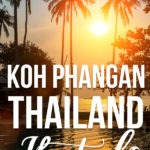 """Palm trees by a pool with text """"Best Hotels Koh Phangan"""""""