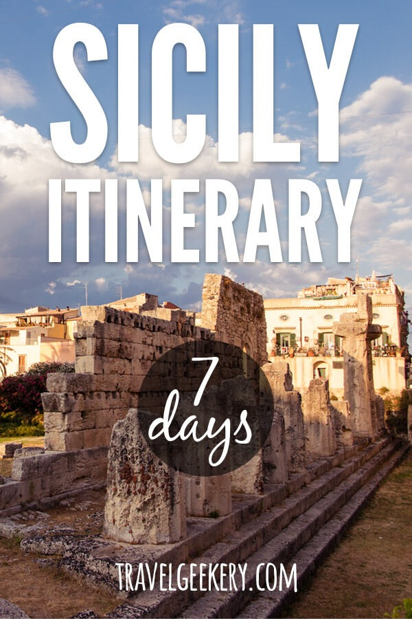"Remnants of Apollo Temple in Syracuse Sicily with a text overlay spelling ""Sicily Itinerary - 7 days"""