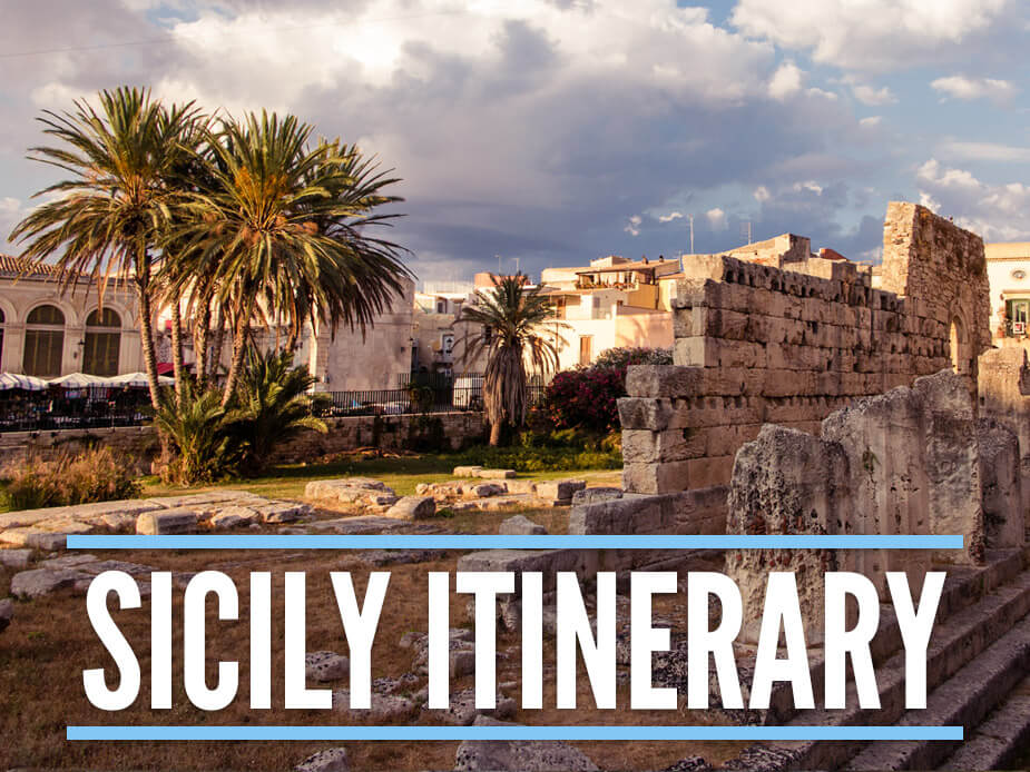 "Remnants of Apollo Temple in Syracuse Sicily with a text overlay spelling ""Sicily Itinerary"""