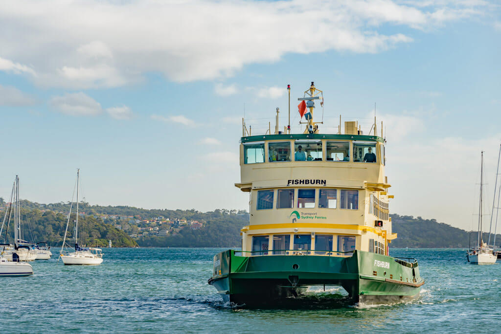 A ferry arriving to Sydney Harbour