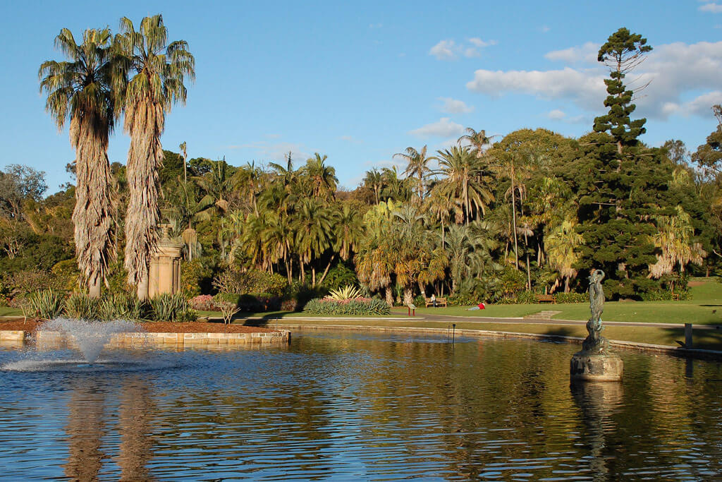 View of lake at Sydney Royal Botanical Gardens