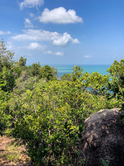 Views of greenery and the sea on a hike in Koh Phangan Thailand