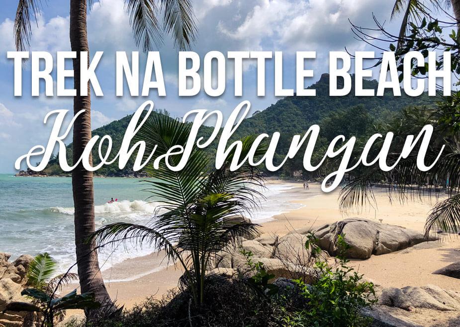 """Tropická pláž s textem """"Trek na Bottle Beach Koh Phangan"""""""