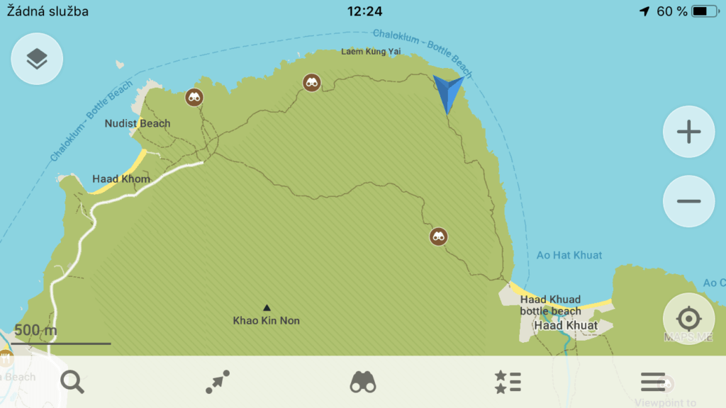 A map showing a hike in Koh Phangan Island