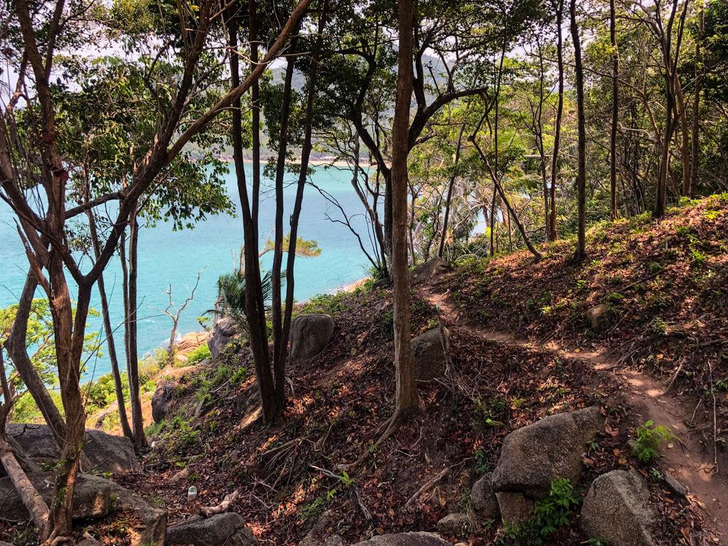 A hiking trail leading to a beach