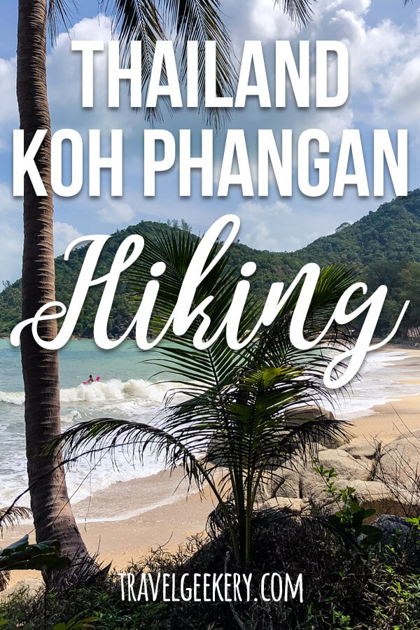 "Beach view with text overlay saying ""Thailand Koh Phangan Hiking"""