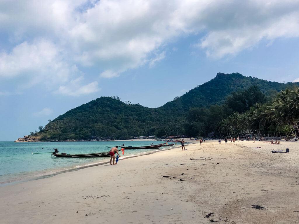 A wide long beach in Koh Phangan, Thailand