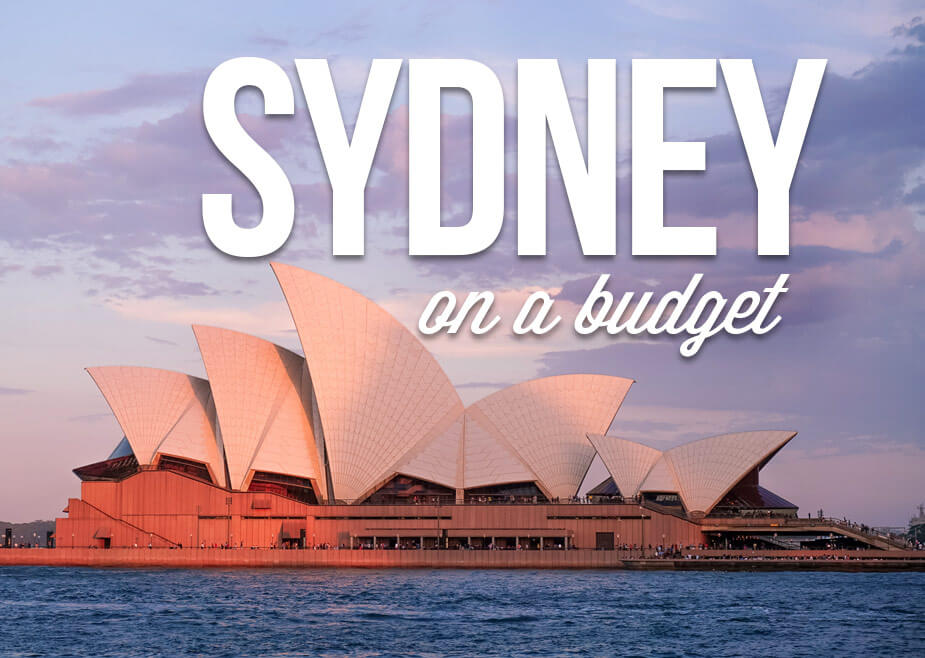"View of Sydney Opera with Text Overlay ""Sydney on a budget"""