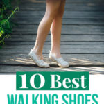 "A girl standing on tiptoes with text overlay saying ""10 Best Walking Shoes for Europe"""