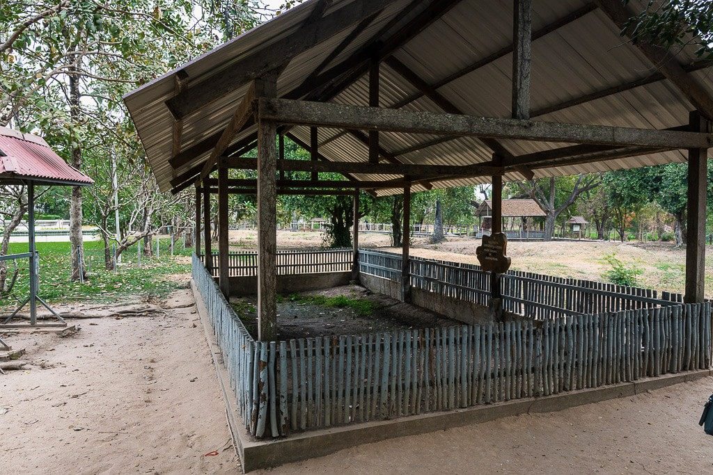 A wooden structure on the killing fields site in Cambodia