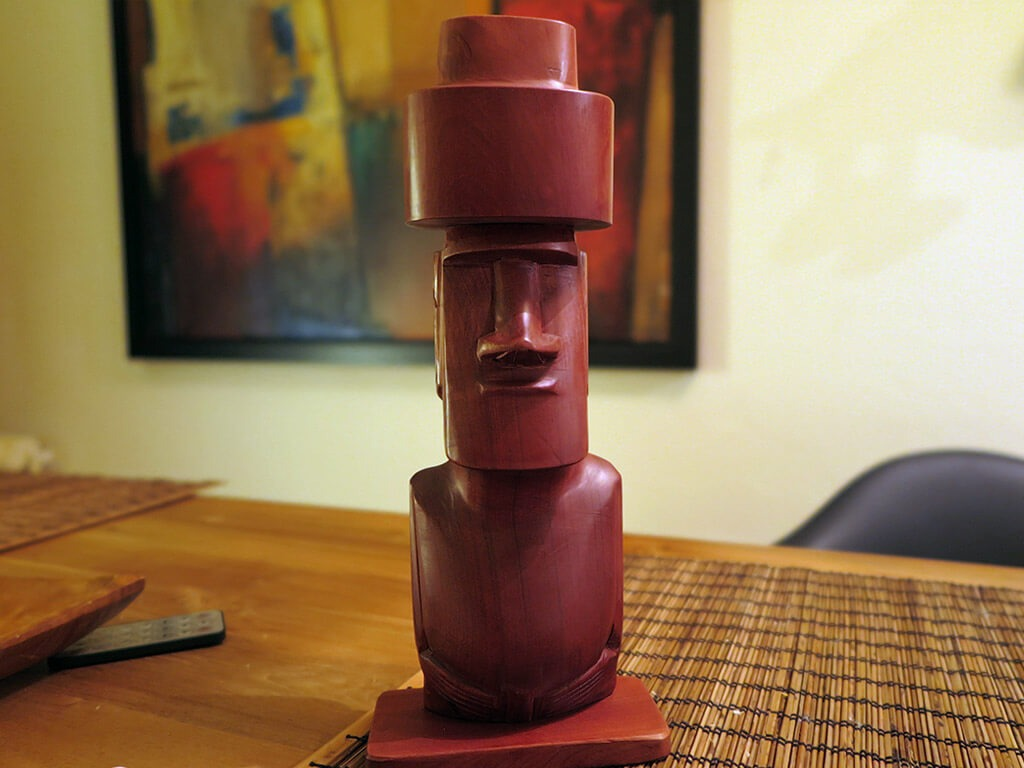 Wooden Moai statue as a travel souvenir