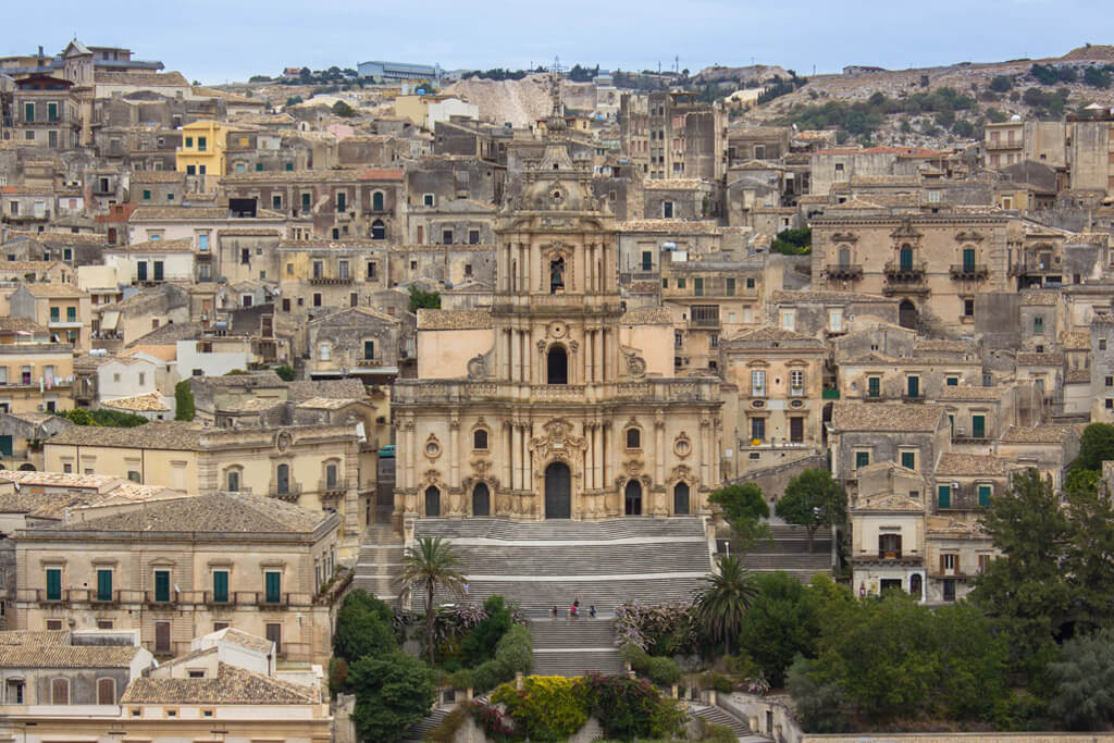 View of Modica, Sicily, with Chiesa di San Giorgio church in the middle