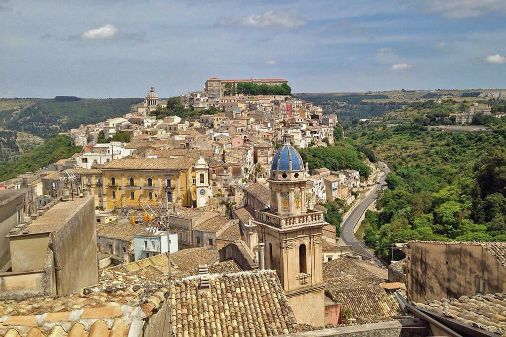 Top view of Ragusa, a town in Sicily Italy