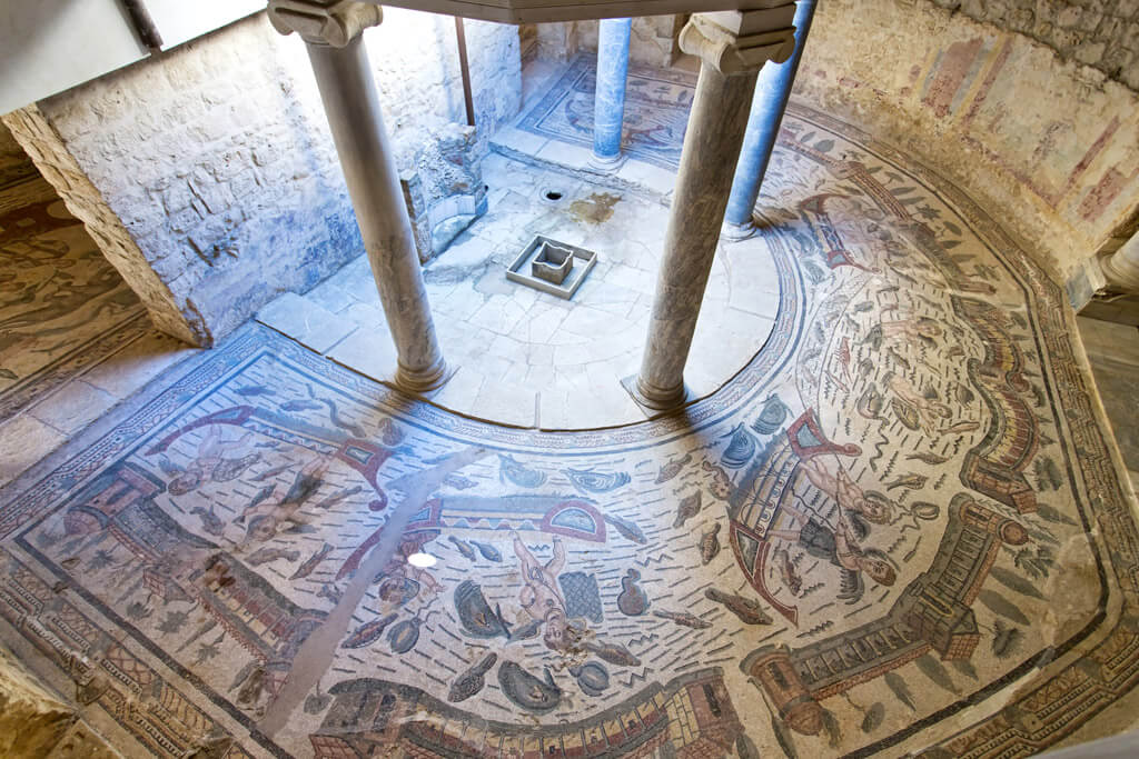 View of preserved Roman mosaics at Villa Romana del Casale in Sicily