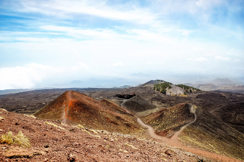 View of craters of Etna volcano