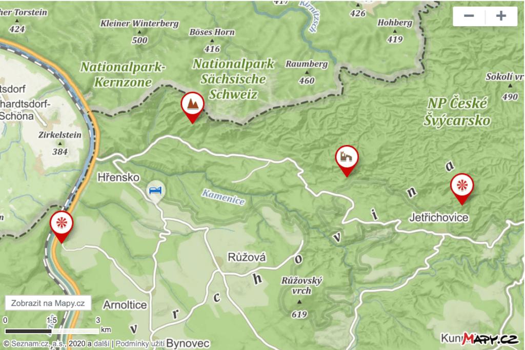 Mapa vyhlídek v národním parku České Švýcarsko