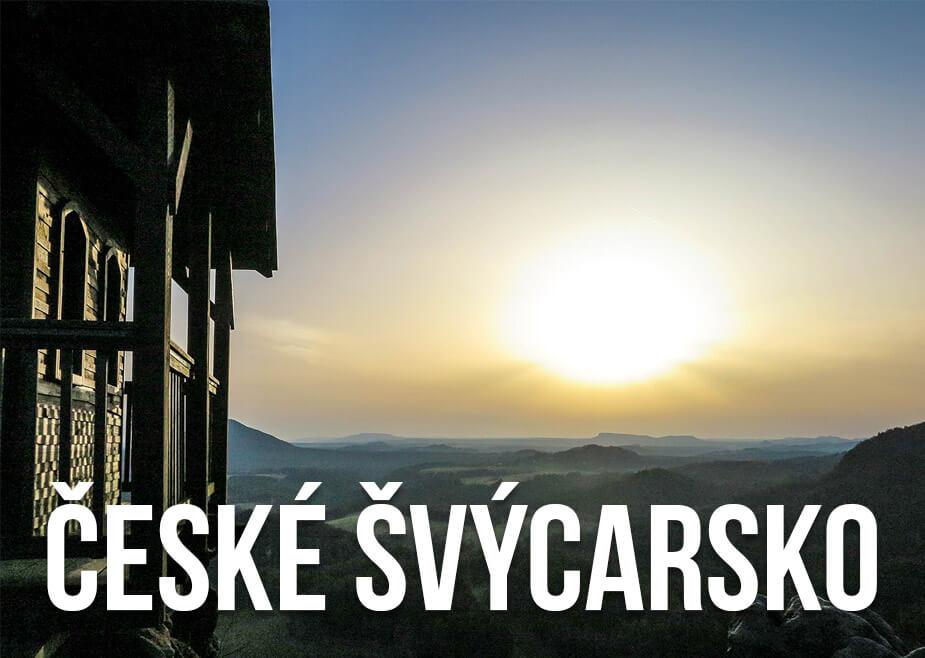 Výhled na krajinu s textem: České Švýcarsko