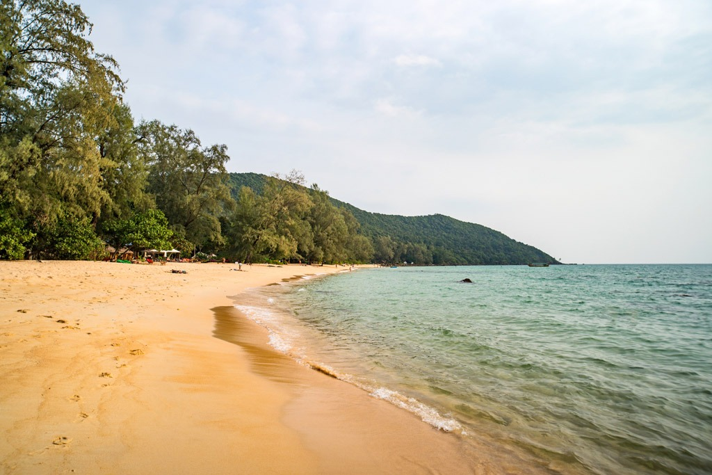 Beach with light brown sand in Koh Rong Sanloem Cambodia