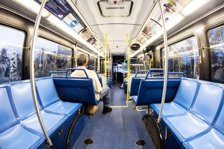 Inside a public bus in Miami