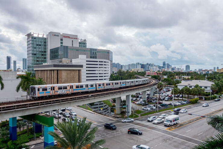View of Metrorail in Miami on elevated rail tracks