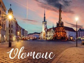 Pohled na večerní Olomouc