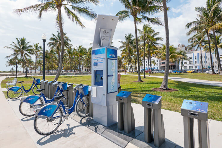 Citibikes for rent in South Beach Miami