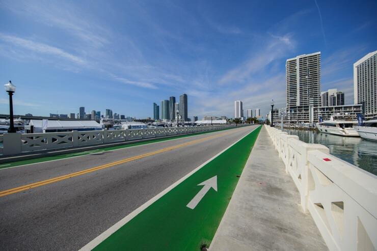 Bike lane on Venetian Causeway in Miami