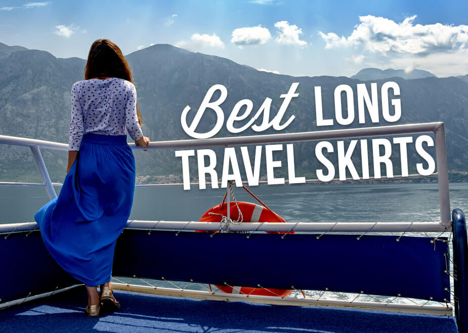 A woman standing on a boat with text overlay: Best Long Travel Skirts