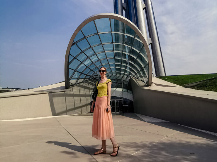 Posing in Beijing, China, wearing a midi skirt