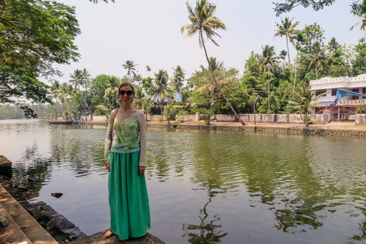 Wearing a long green travel skirt in India