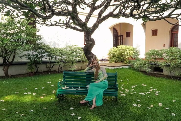 Chilling on a bench wearing a long skirt in India