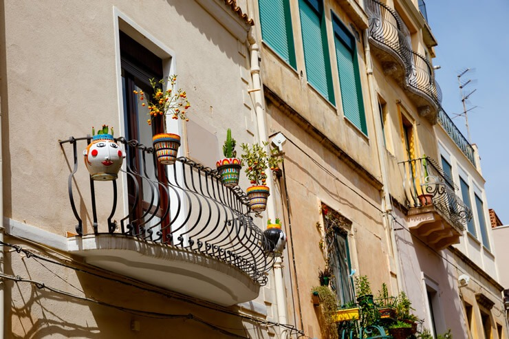 View of cute balconies in Taormina, Sicily