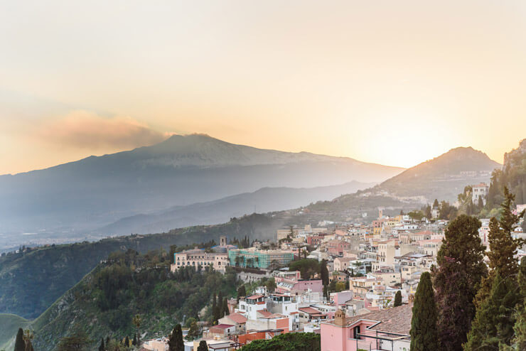 View of Taormina Sicily upon sunset or sunrise