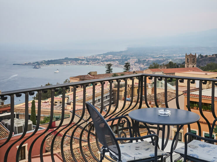 Balcony with a view of the sea in Taormina Sicily